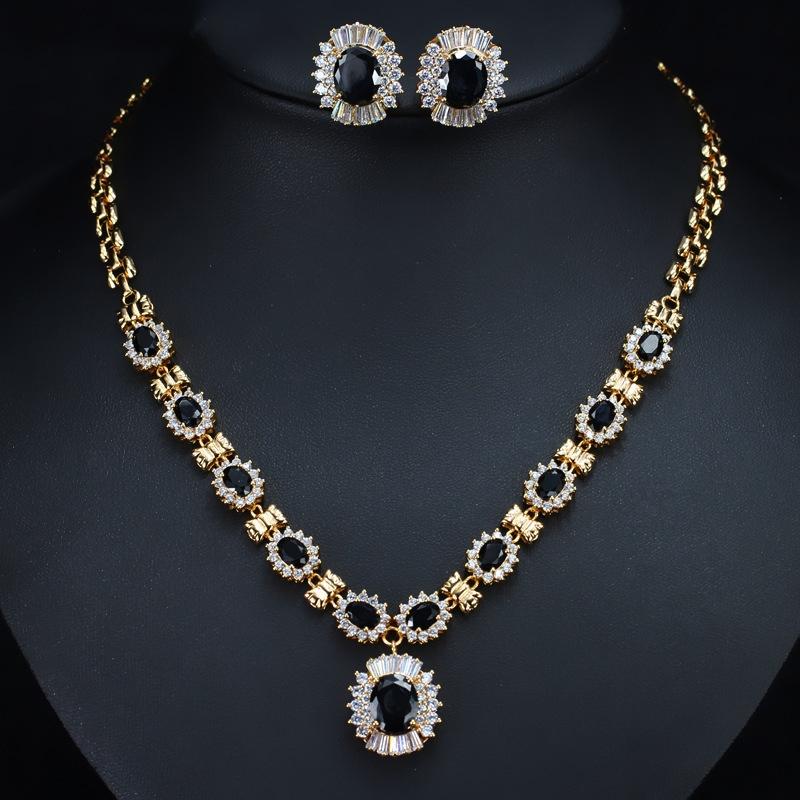 Rhinestone Floral Earrings European Jewelry Sets (Wedding)