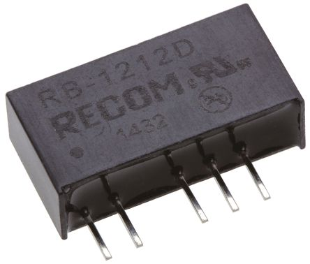 Recom RB 1W Isolated DC-DC Converter Through Hole, Voltage in 10.8 → 13.2 V dc, Voltage out ±12V dc