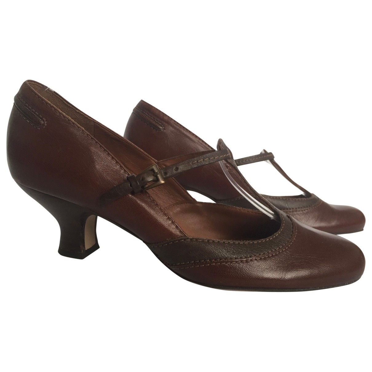 Clarks \N Brown Leather Heels for Women 6.5 UK