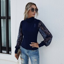 Stand Neck Contrast Lace Sleeve Top