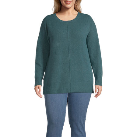 a.n.a-Plus Womens Round Neck Long Sleeve Pullover Sweater, 1x , Blue