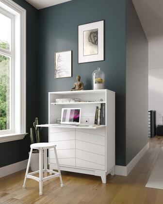 402343 Nexera 402343 Boss Secretary Desk with 2-Door Bottom Storage Section  Adjustable Shelves  in White Melamine And Matte White