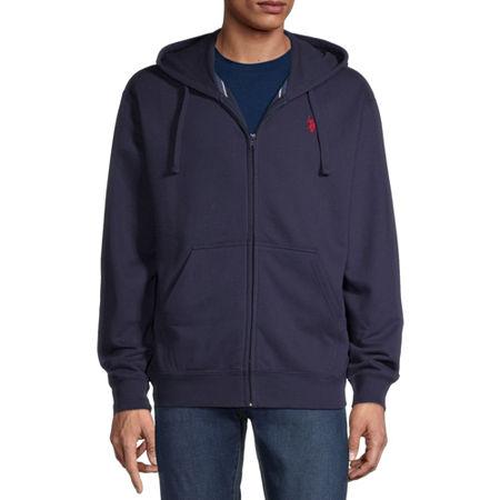 U.S. Polo Assn. Mens Long Sleeve Hoodie, Large , Blue