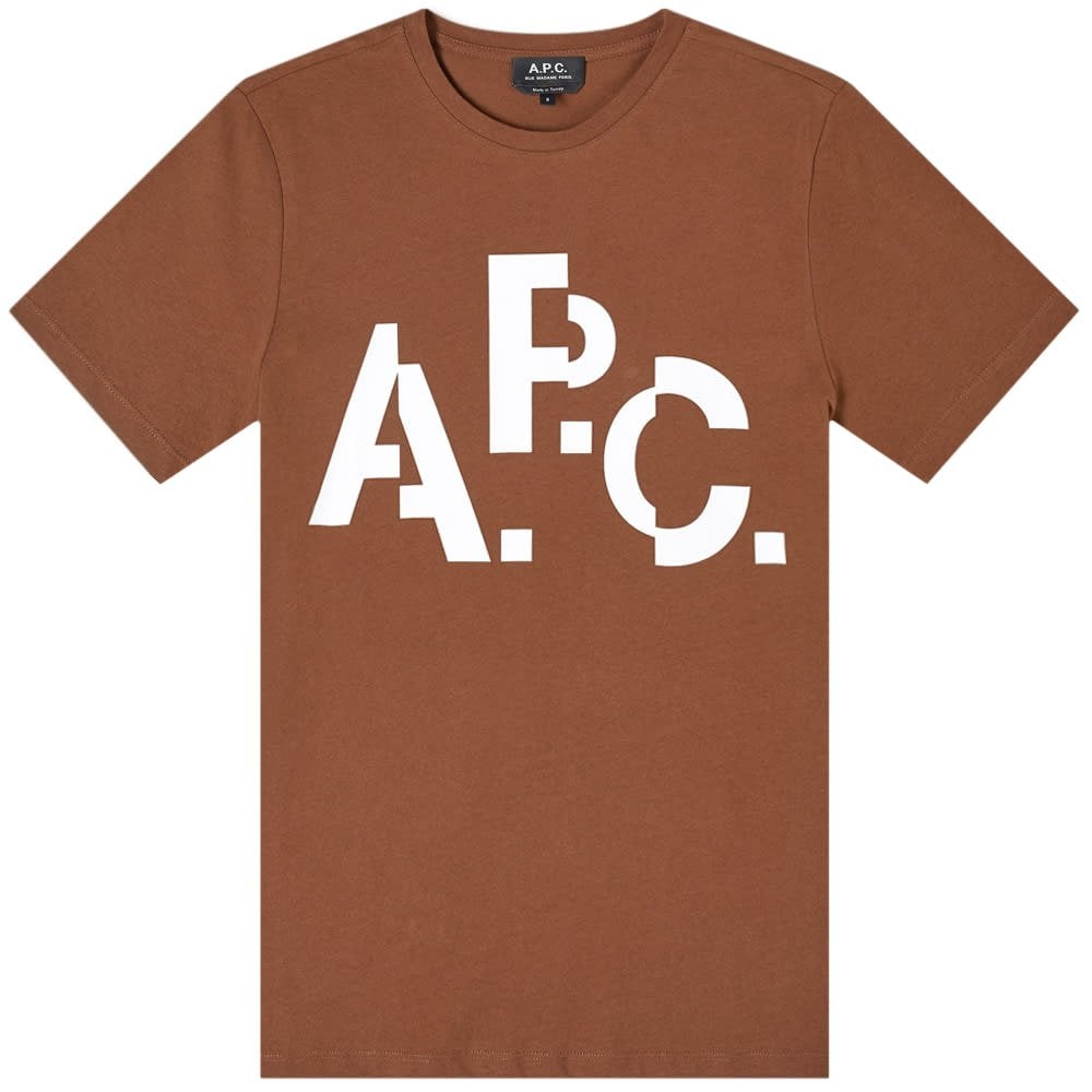 A.P.C Decale Logo T-Shirt Colour: BROWN, Size: LARGE