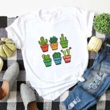 Plus Cactus Print Short Sleeve Tee