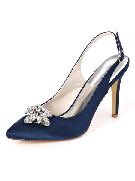 Milanoo Wedding Shoes White Satin Rhinestones Pointed Toe Stiletto Heel Bridal Shoes
