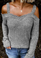 Cold Shoulder Knitted Sweater - Gray
