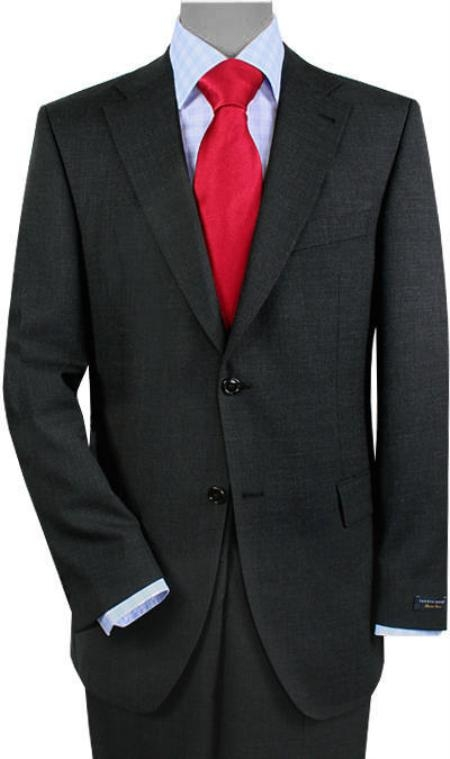 2 Buttons Vented Gray Sharkskin No Pleats Suit