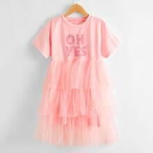 Kleid mit Buchstaben Grafik und mehrschichtigem Netzstoff Saum