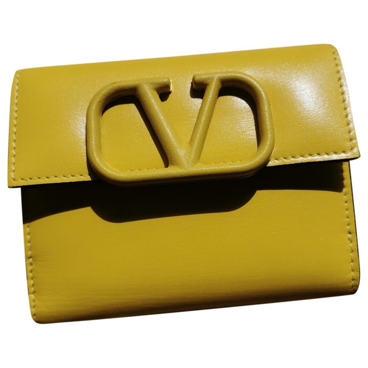 Valentino Garavani - Portefeuille   pour femme en cuir - jaune