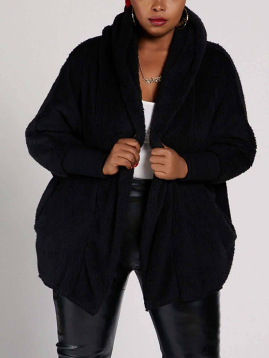 LW Lovely Trendy Hooded Collar Loose Black Plus Size Coat