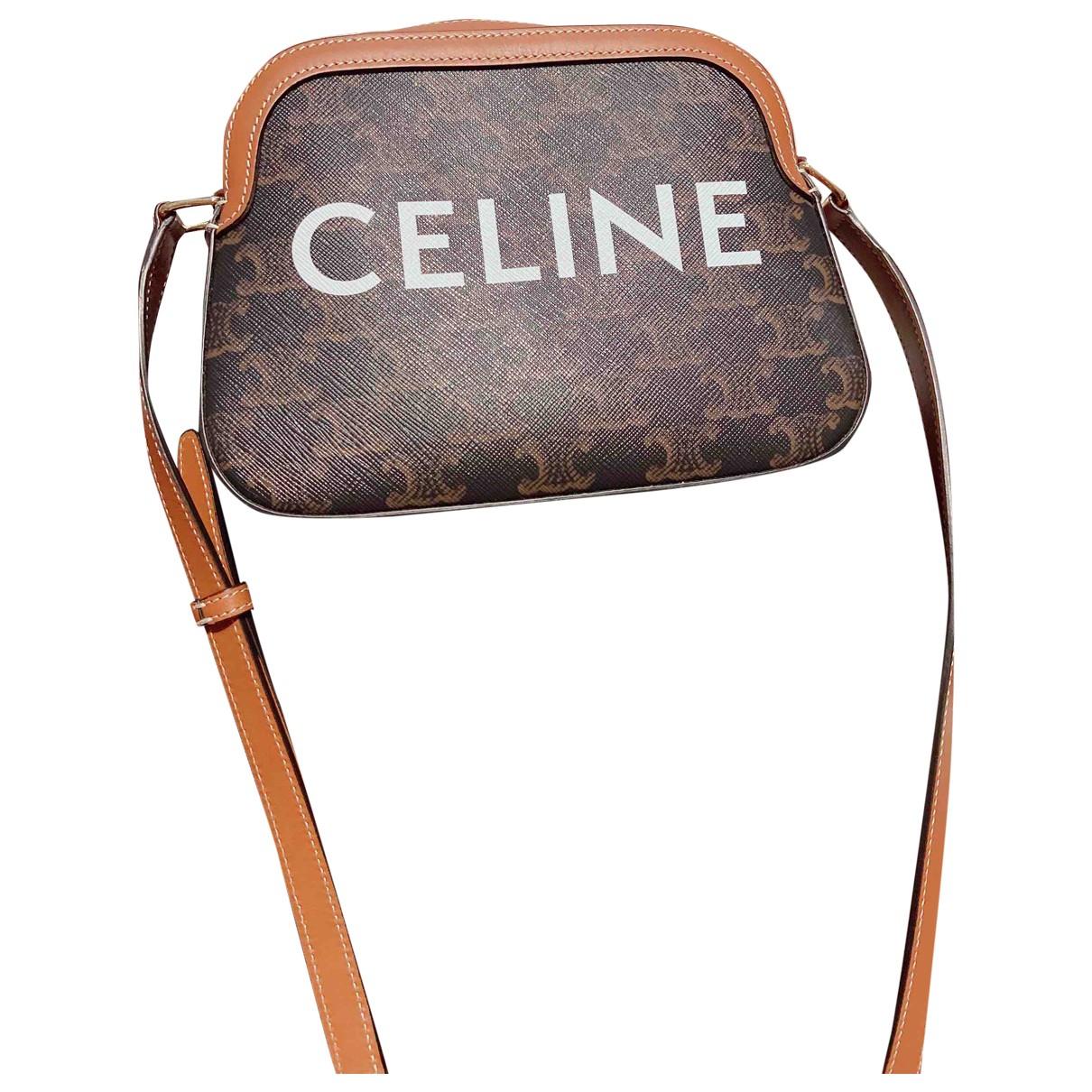 Celine Triomphe Vintage Brown Cloth handbag for Women \N