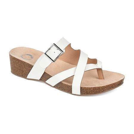 Journee Collection Womens Madrid Wedge Sandals, 9 Medium, White