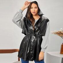 Mantel mit Druckknopfen, Falten vorn, PU Leder Einsatz und Kapuze