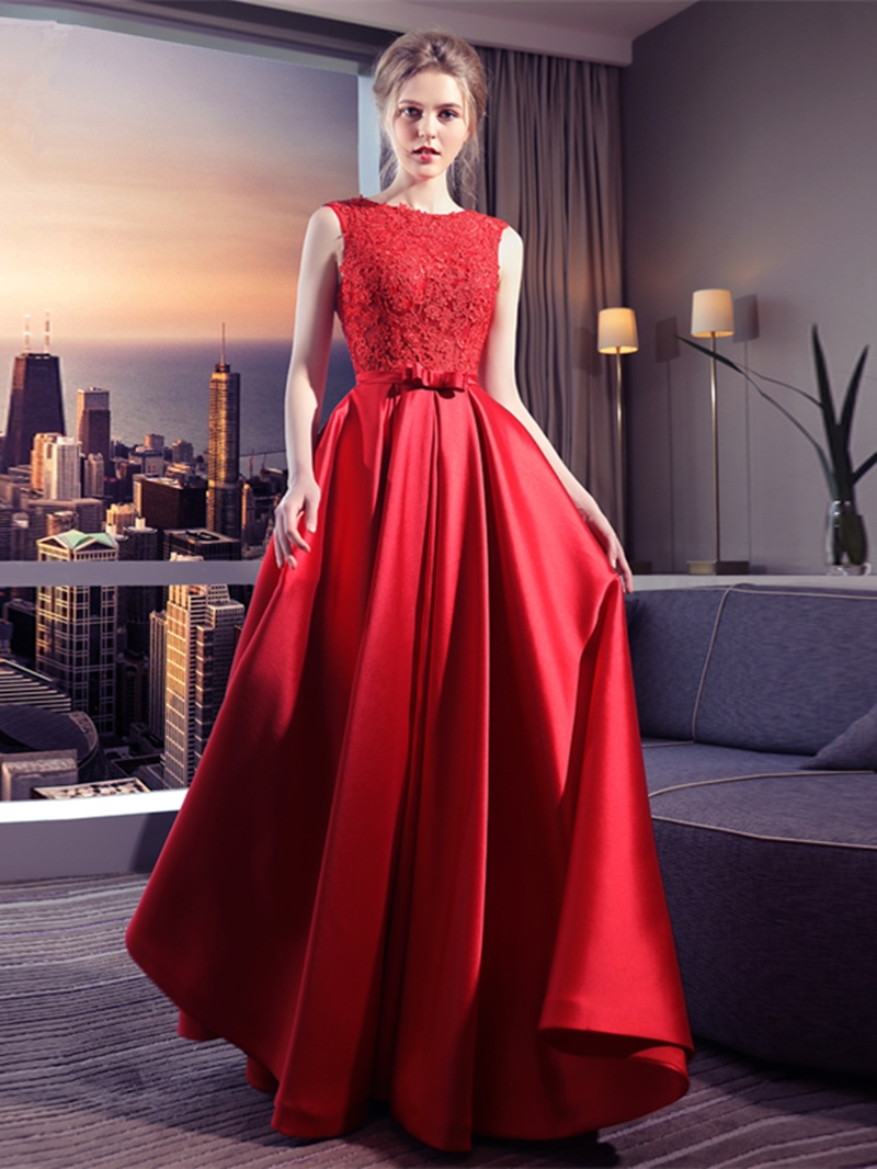 Ericdress A-Line Appliques Bowknot Floor-Length Long Evening Dress