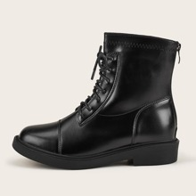 Lace-up Front Block Heeled Boots