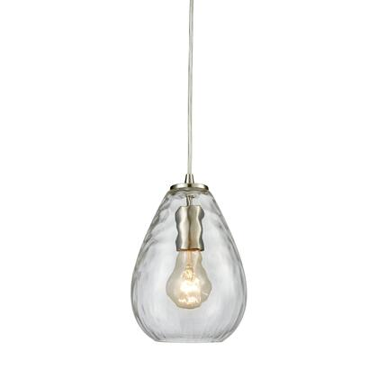 10760/1 Lagoon 1 Light Pendant in Satin Nickel with Clear Water