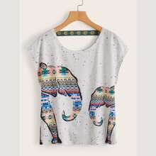 Plus Tribal Elephant Print Embroidery Tape Tee