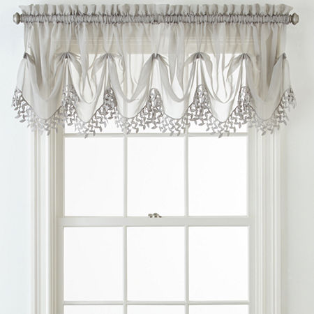 Home Expressions Lisette Sheer Macramé Tuck Valance, One Size , Gray