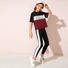 Girls Letter Graphic Colorblock Tee & Contrast Sideseam Leggings Set