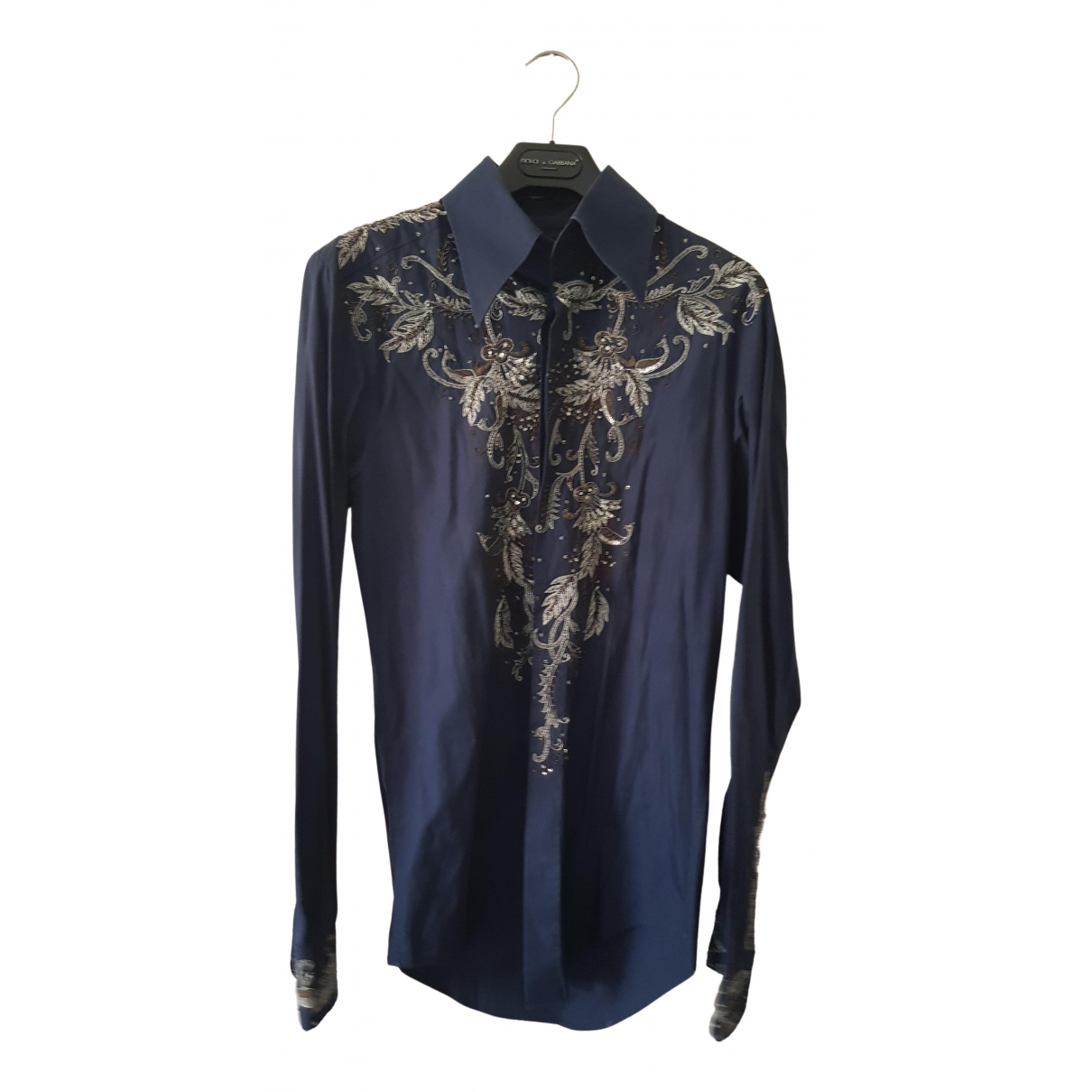 Dolce & Gabbana N Blue Cotton Shirts for Men 39 EU (tour de cou / collar)