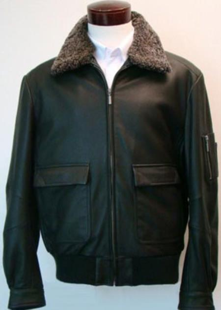 Mens Classic  Jacket With Sherpa-Lined Collar & Flap Pockets Black