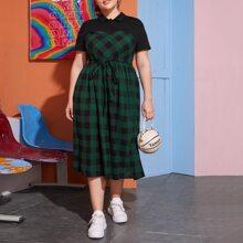 Polo Kleid mit Selbstguertel und Karo Muster