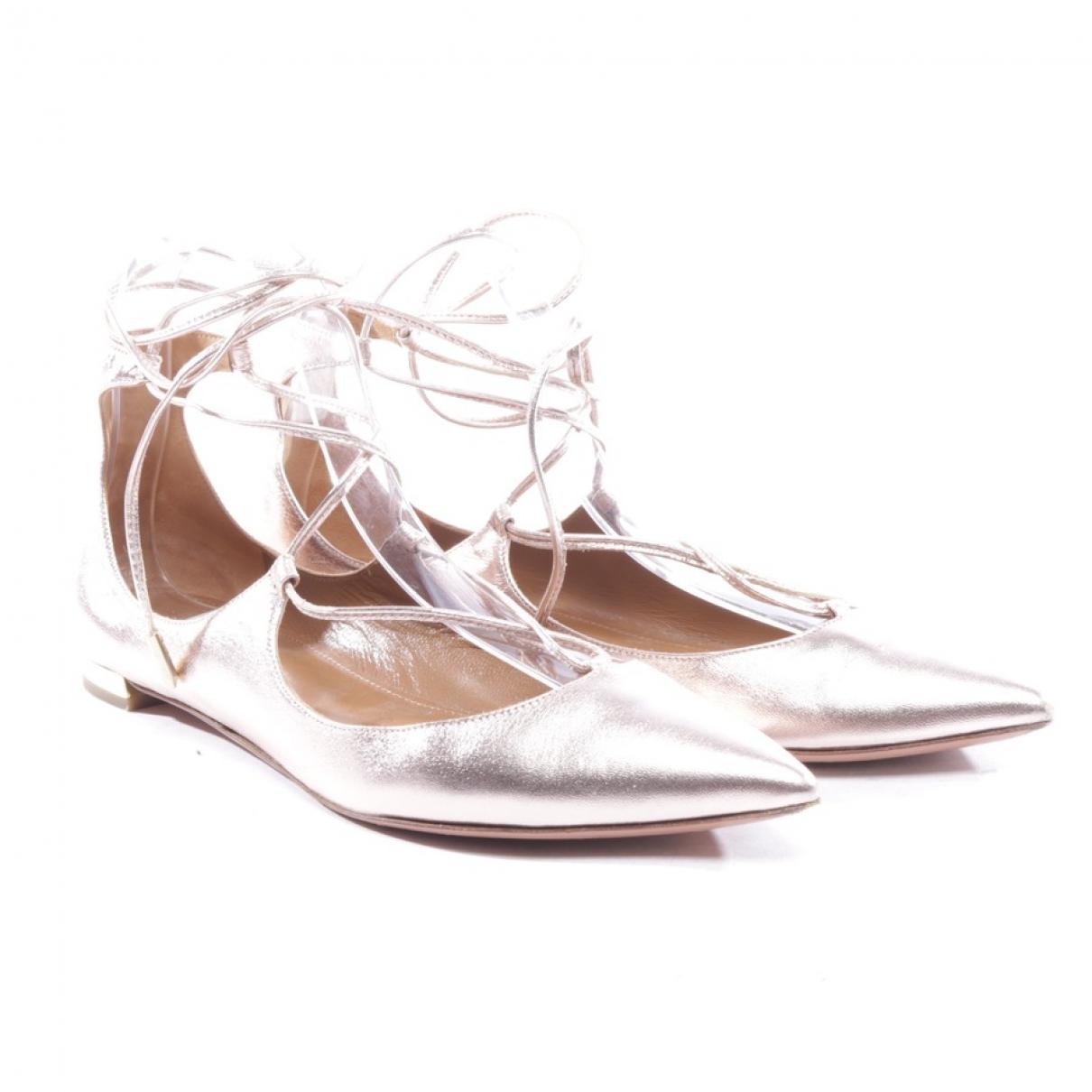 Aquazzura \N Metallic Leather Ballet flats for Women 37 EU