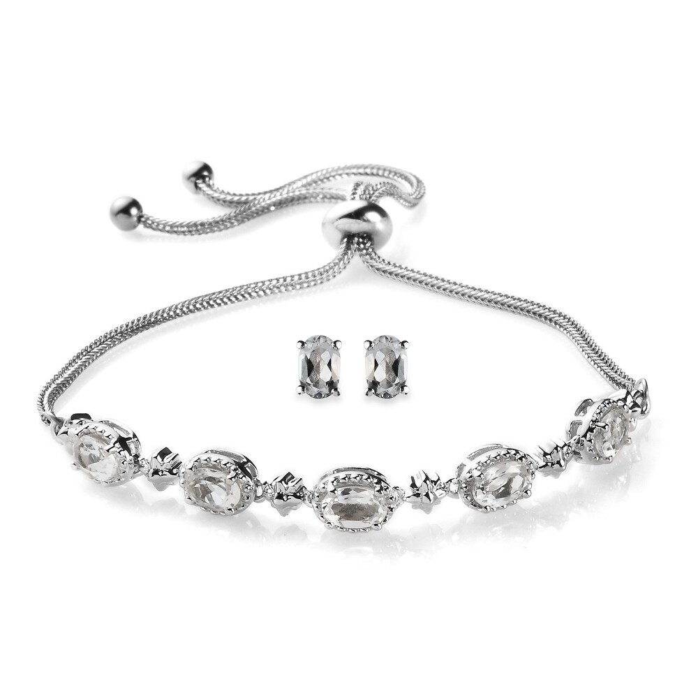 925 Sterling Silver White Topaz Stud Earrings Bolo Bracelet Set Ct 3.7 (White - White - White - Topaz)