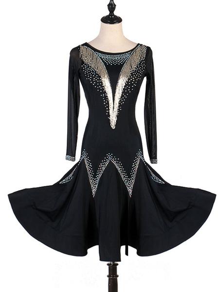 Milanoo Latin Dance Costumes Sequin Bead Black Women Dress Dancing Wears Outfit Halloween