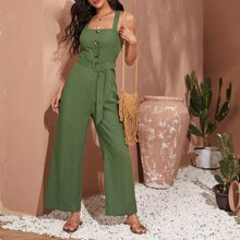 Criss Cross Back Belted Cami Jumpsuit