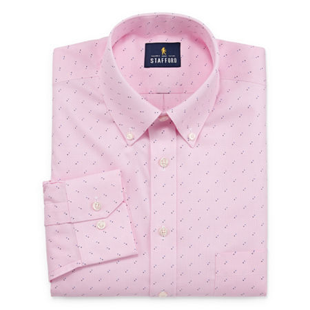 Stafford Mens Button Down Collar Long Sleeve Dress Shirt, 16 34-35, Pink