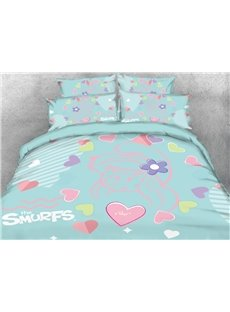 Sketch Smurfette with Love Heart Printed Twin 3-Piece Kids Bedding Sets