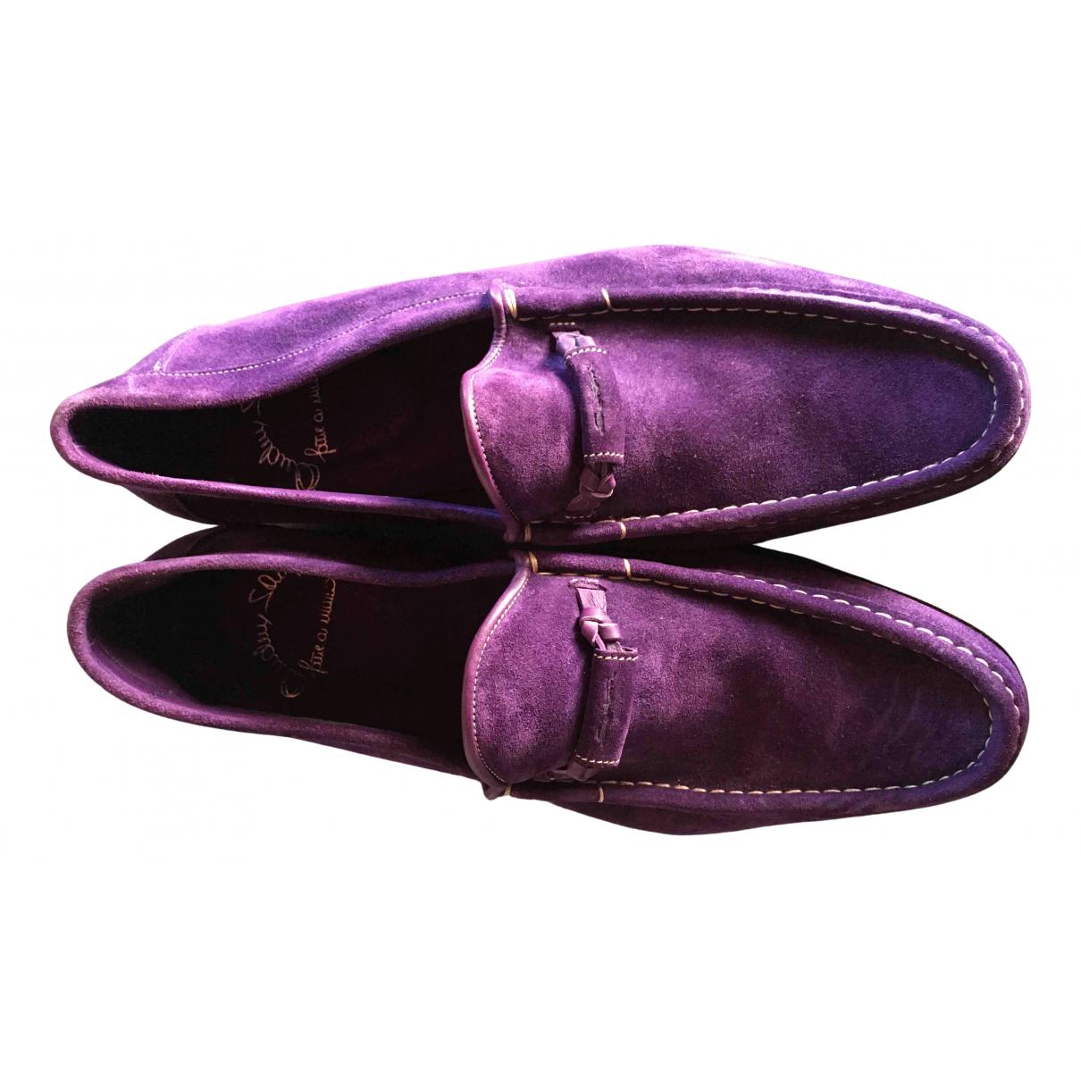 Santoni N Purple Suede Flats for Men 45 EU