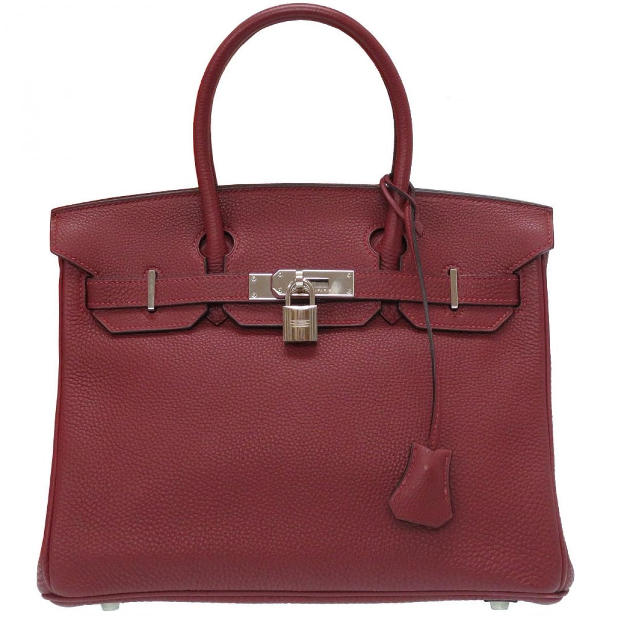 Hermes Birkin 30 Handtasche in  Bordeauxrot Leder