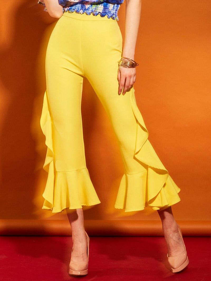 Ericdress High Waisted Yellow Falbala Women's Pants
