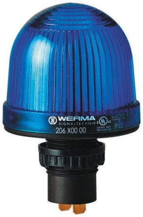 Werma 206 Blue Incandescent, LED Beacon, 12 → 48 V ac/dc, Steady, Panel Mount