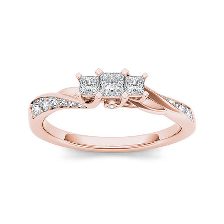 1/2 CT. T.W. Diamond 10K Rose Gold 3-Stone Engagement Ring, 8 1/2 , No Color Family