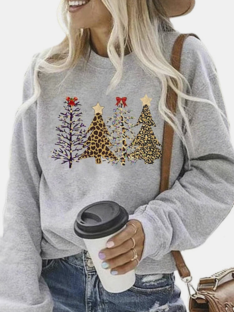 Christmas Tree Print Long Sleeve Plus Size Sweatshirt