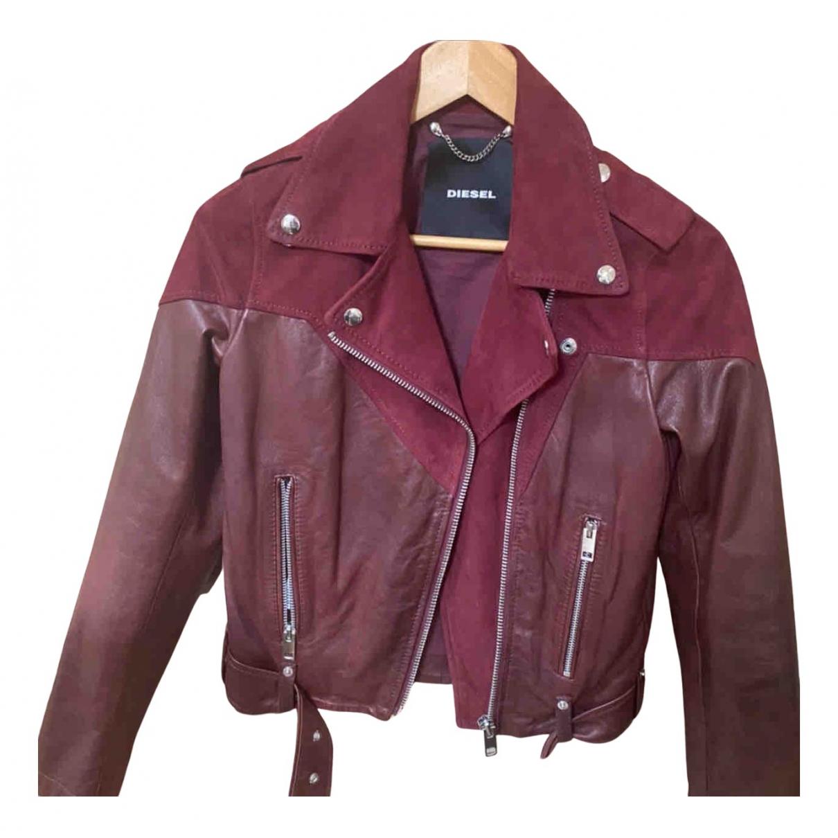 Diesel N Burgundy Leather jacket for Women XS International