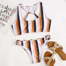 Stripe Ladder Cut-out Bikini Swimsuit
