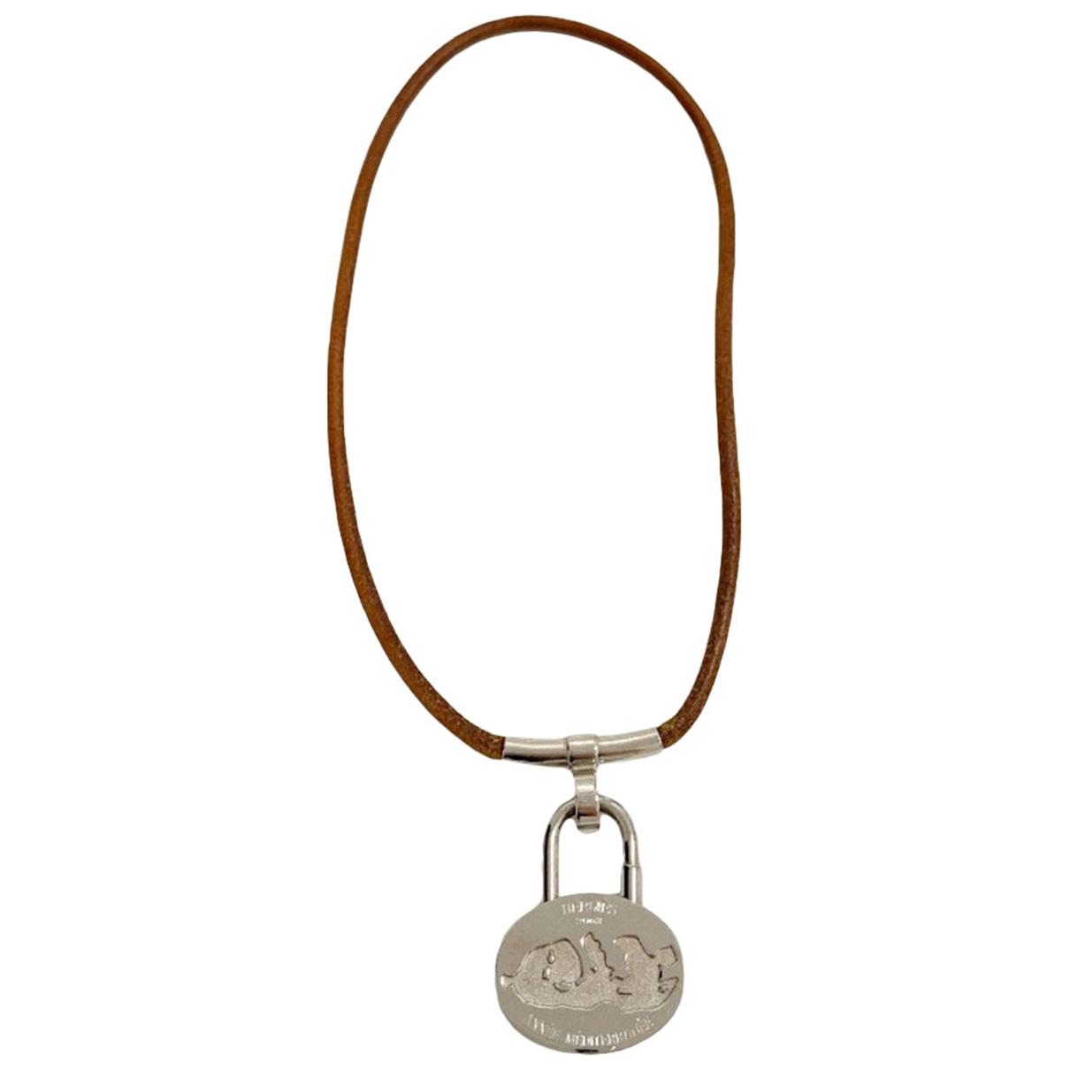 Hermes - Collier Cadenas pour femme en metal - argente
