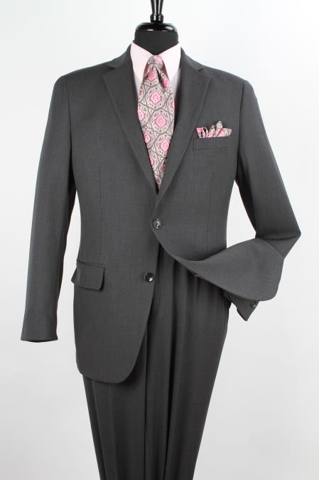 Mens 2 Piece 1 Wool Executive Suit Notch Lapel Solid Charcoal Grey
