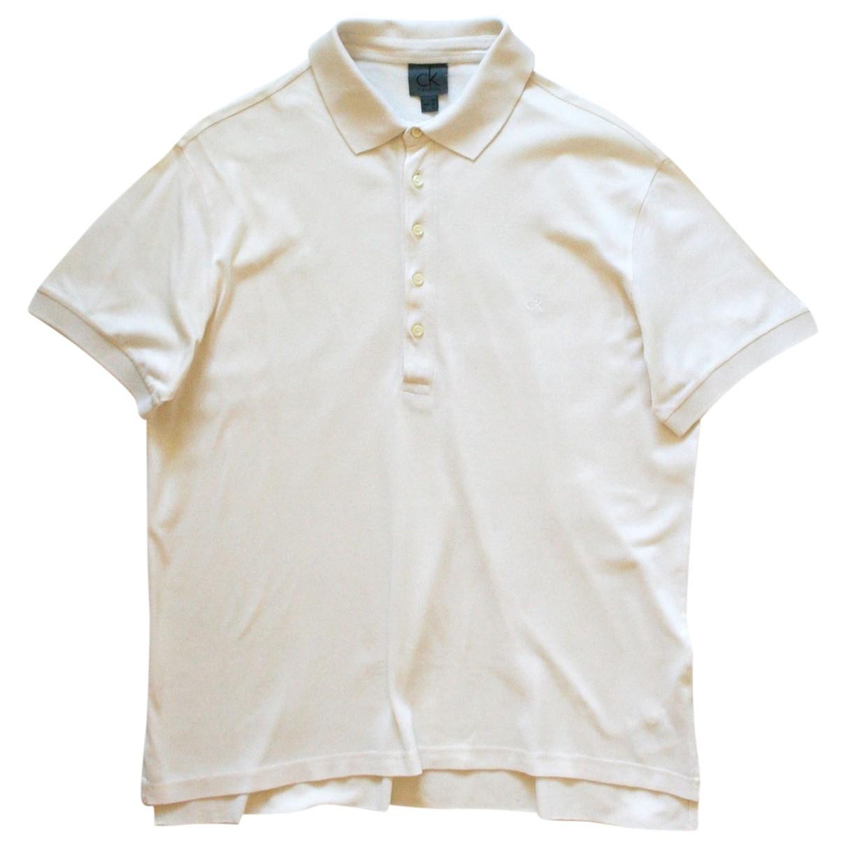 Calvin Klein - Polos   pour homme en coton - ecru