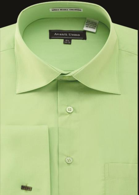 Mens Avanti Uomo French Cuff Shirt Green
