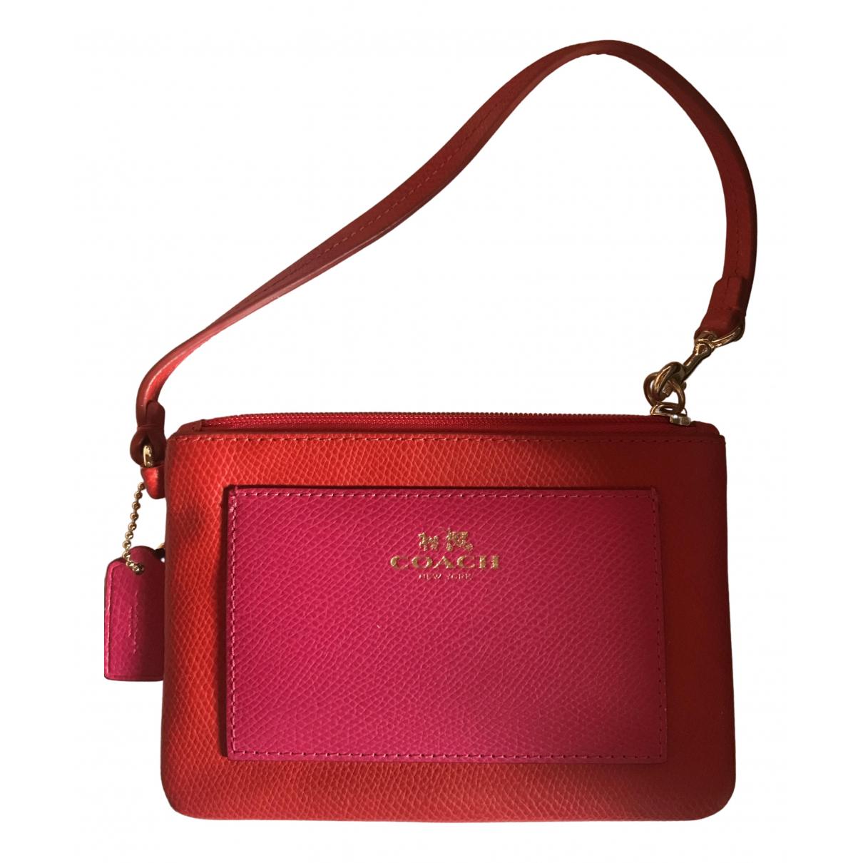 Coach - Pochette   pour femme en cuir - rouge