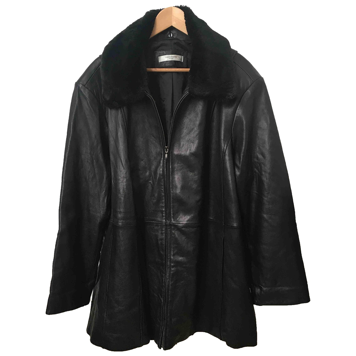 Non Signé / Unsigned Oversize Black Leather jacket for Women XXL International