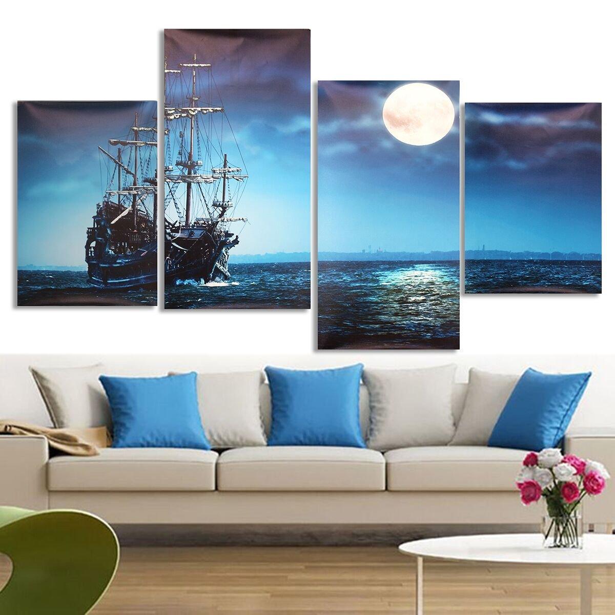 4Pcs Blue Sea Boat Canvas Painting Unframed Wall Art Bedroom Living Room Home Decor