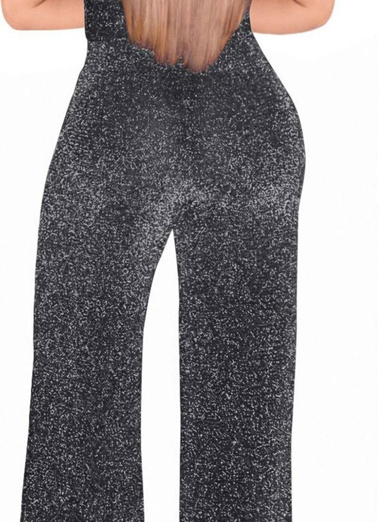 Ericdress Sequins Plain Full Length Women's Slim Straight Jumpsuit