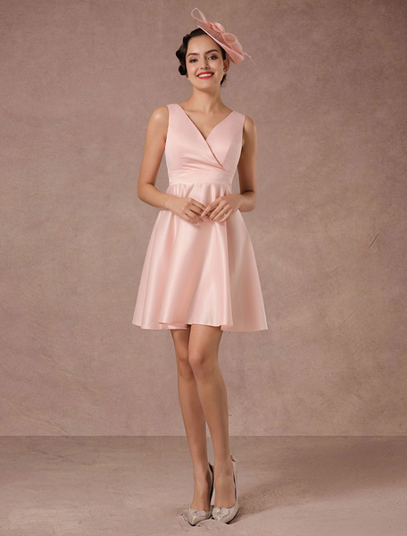 Milanoo Summer Wedding Dresses 2020 Pink Short V-neck Satin A-line Cocktail Dress With Sash